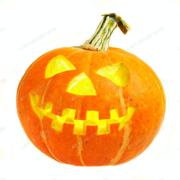 A scary old jack-o-lantern on white.