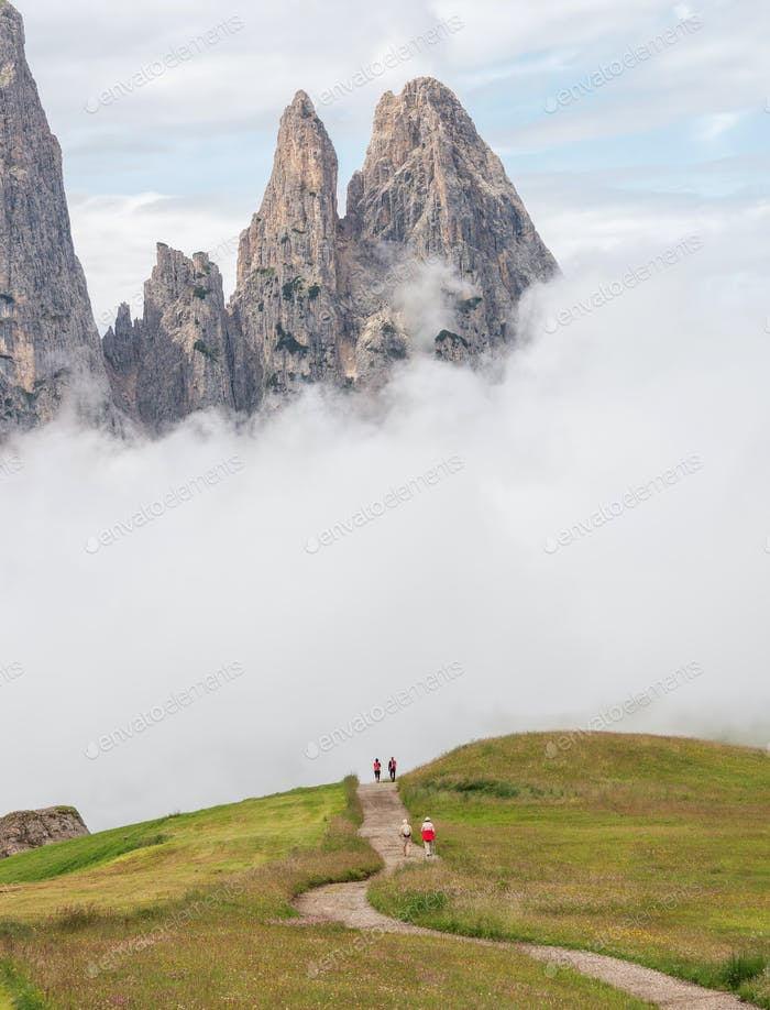 Misty day in the Dolomites mountains