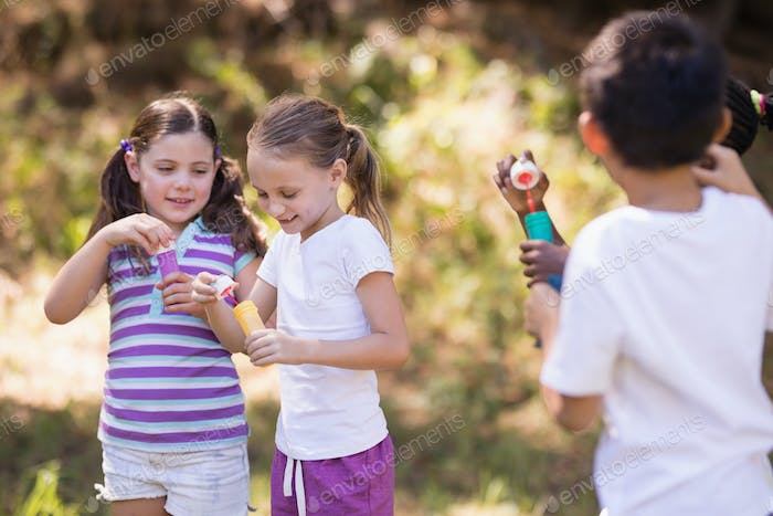 Group of friends playing with bubble wand