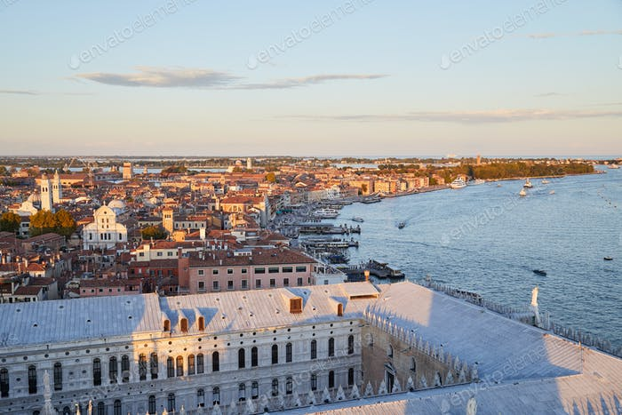 Aerial view of Venice before sunset with coast and rooftops
