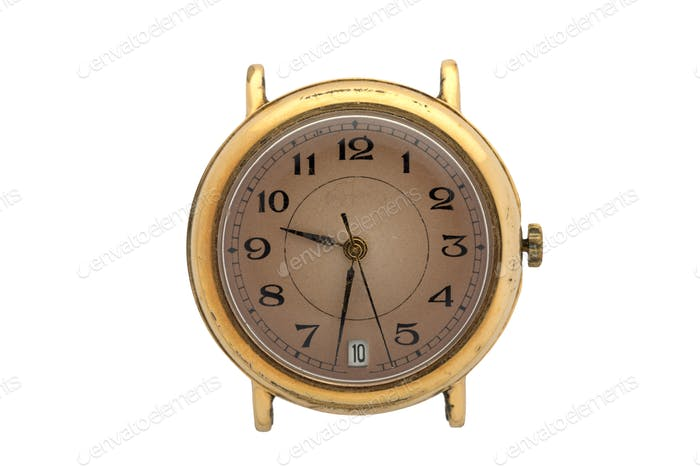 Gold watch with brown dial and Arabic numerals. Isolated over white background.
