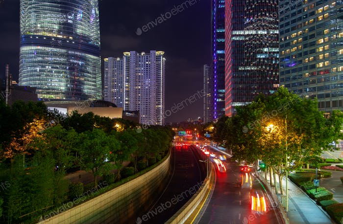 Night traffic on Pudong New Area highway in China