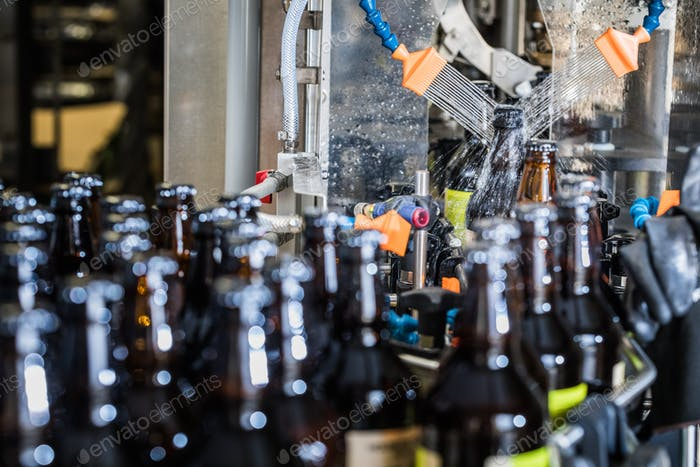 Bottles washing on conveyor