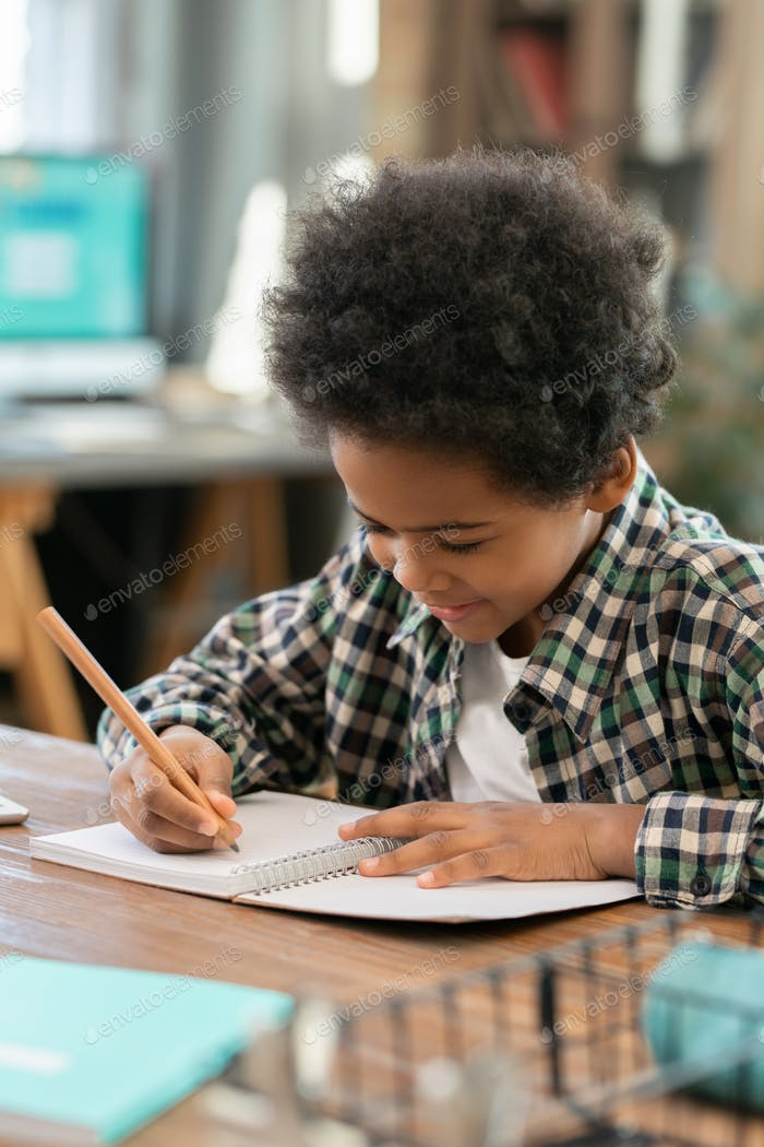 Cute elementary schoolboy of African ethnicity making notes in copybook