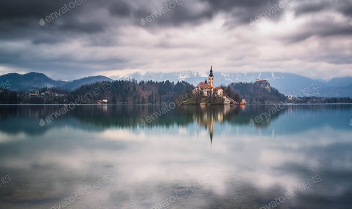 Lake Bled on a beautiful day in Slovenia