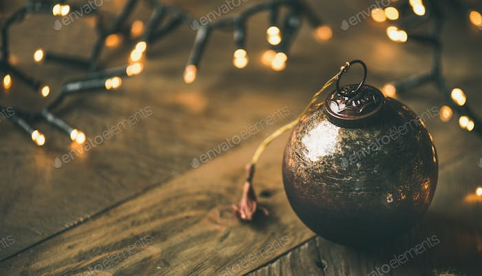 Christmas tree toy decoration ball on wooden background