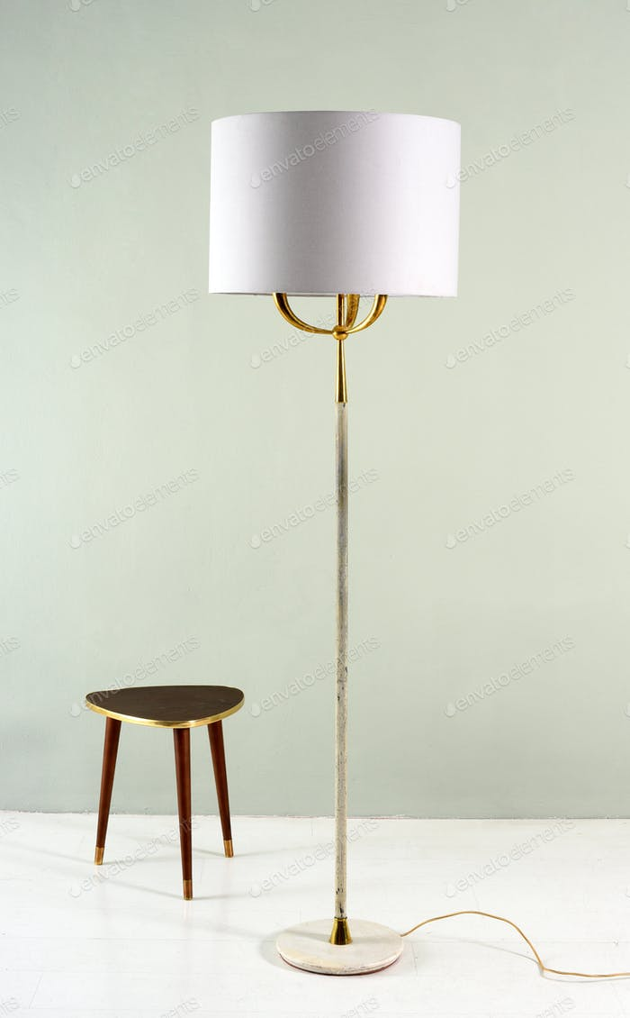 Electric floor lamp and tripod stool