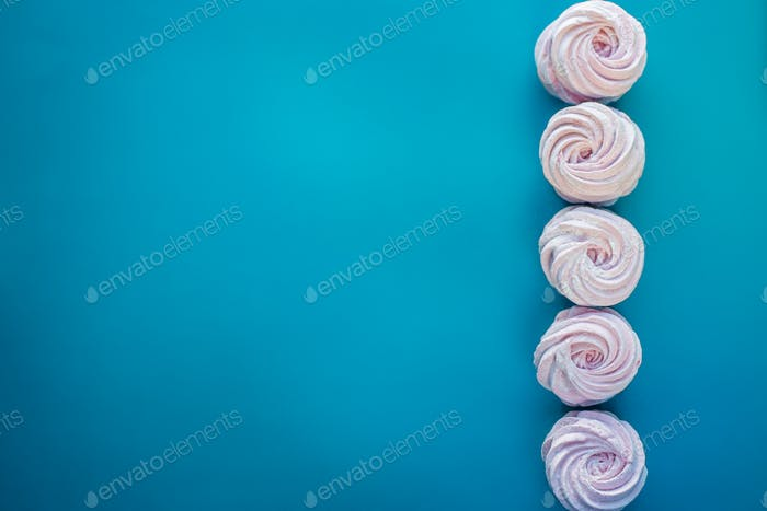 Delicate sweet raspberry marshmallow. Copy space. Flat lay