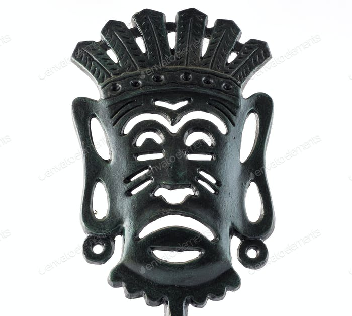 African Mask Isolated on a White Background.