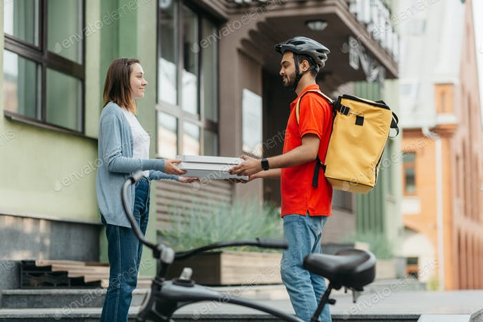 Service in city and modern food delivery