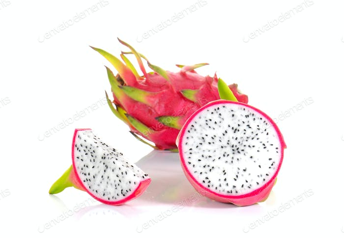 Fresh dragon fruit on white background.