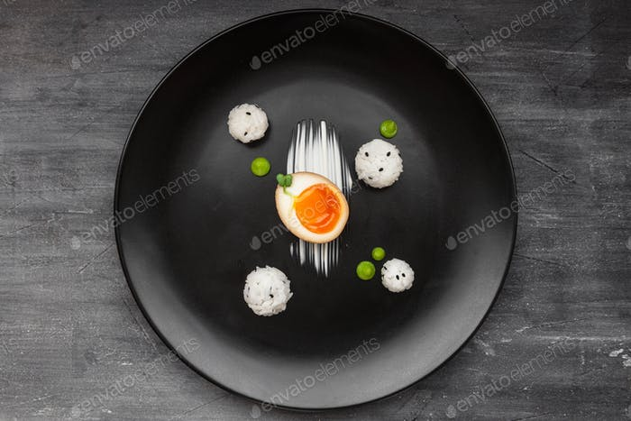 Marinated egg for ramen or nitamago, top view