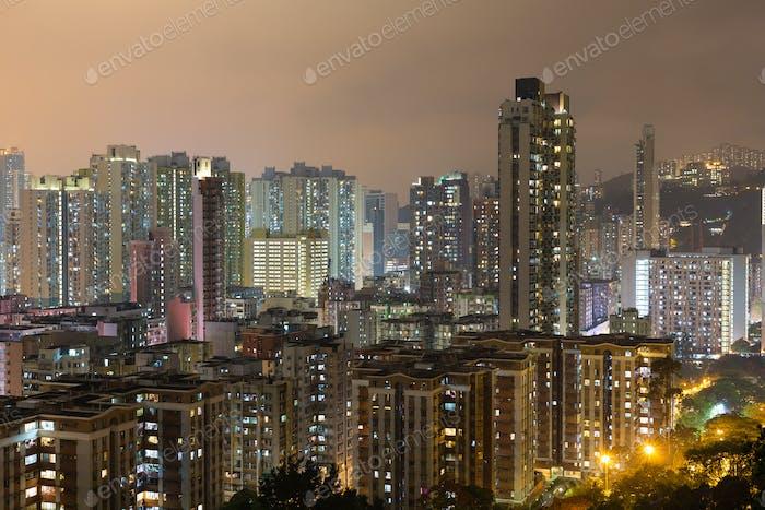 Hong Kong apartment building at night