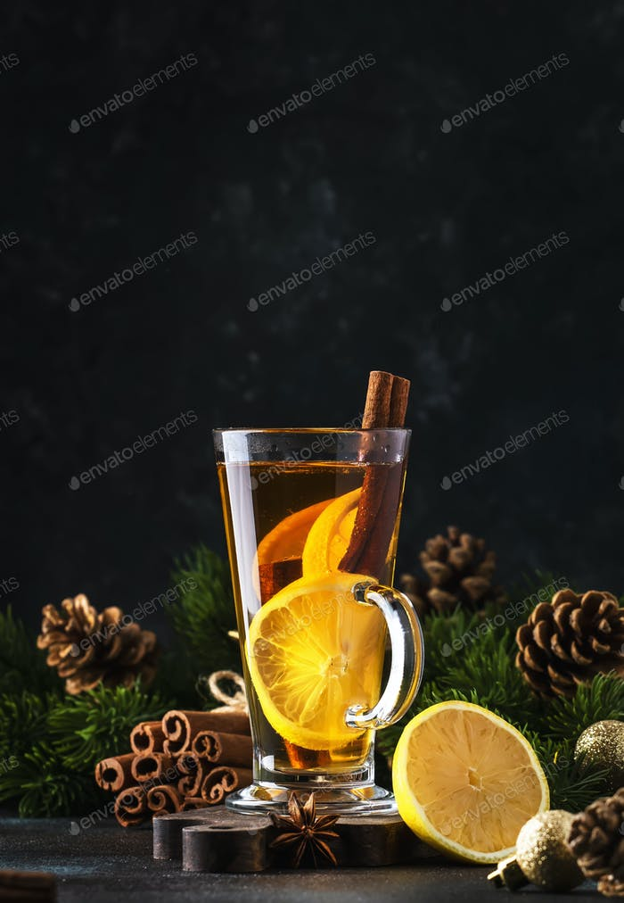 Christmas or New Year hot winter drink, spicy grog cocktail, punch or mulled wine