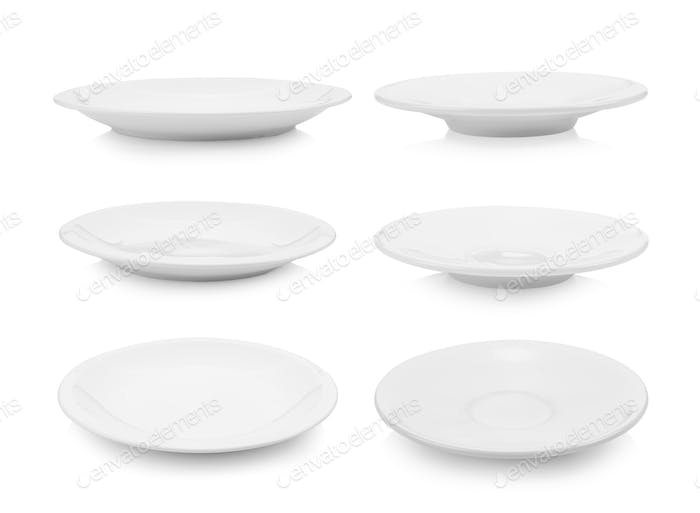 set of plate on white
