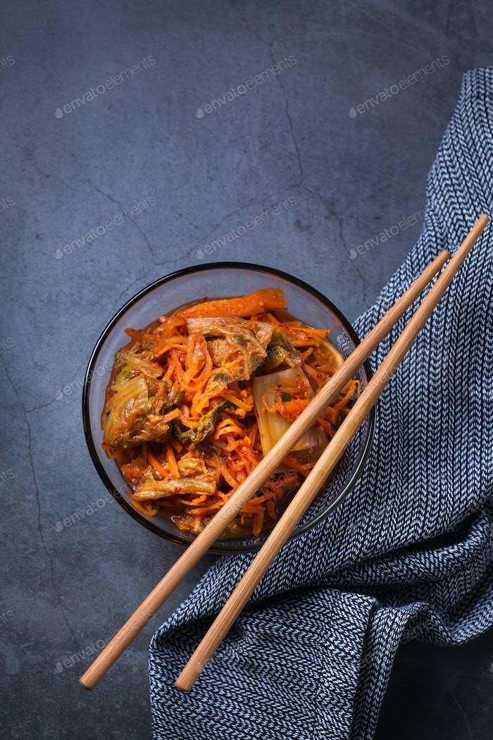 Homemade korean fermented kimchi cabbage salad, vegan, vegetarian preserved food