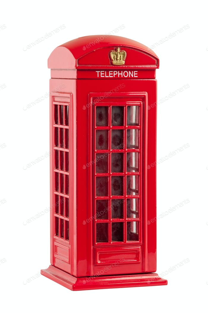 Moneybox representing red british telephone booth
