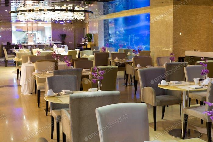 restaurant with an aquarium