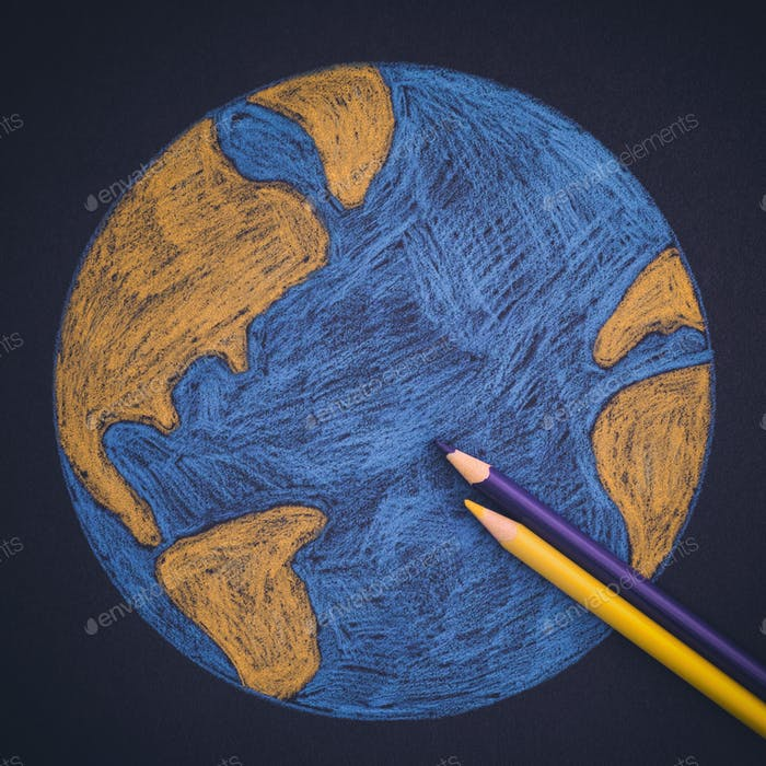 Planet Earth Drawn with Pencils