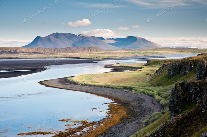 beautiful mountain scenery by the sea at Hunafjordur, Iceland