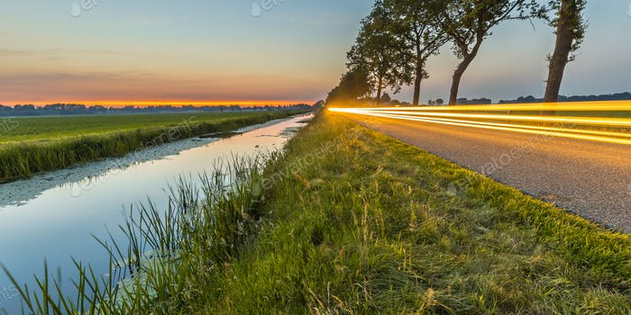 Netherlands open polder landscape traffic