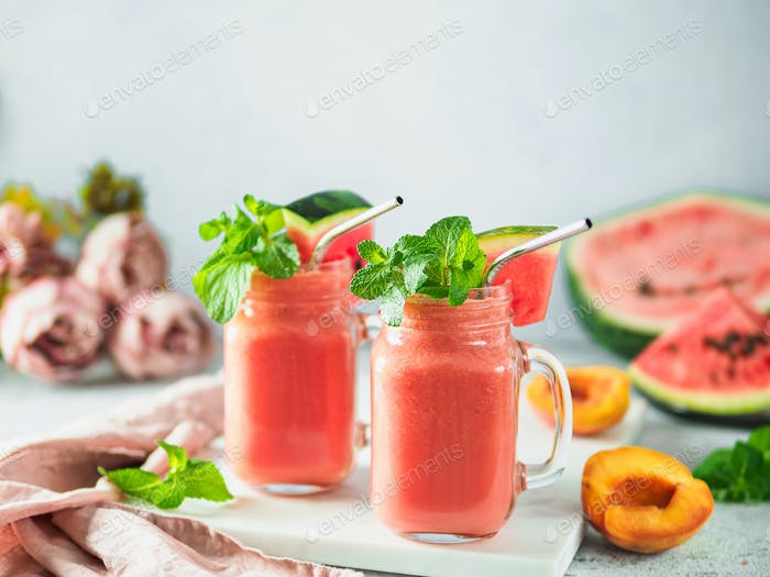 Watermelon and Peach Smoothies, copy space