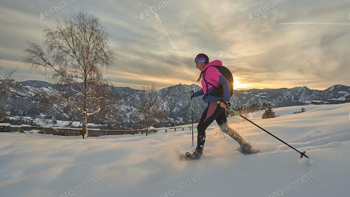 A snowshoe girl