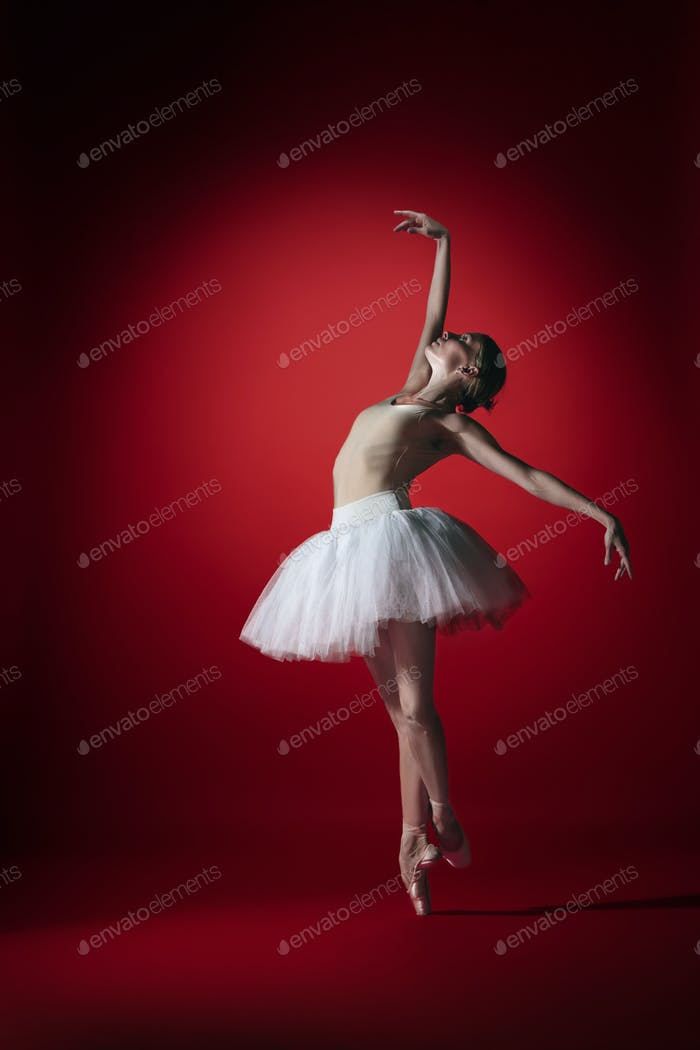 Ballerina. Young graceful female ballet dancer dancing at red studioskill. Beauty of classic ballet.