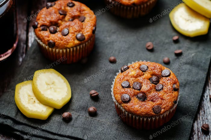 Chocolate chips banana muffins with coffee