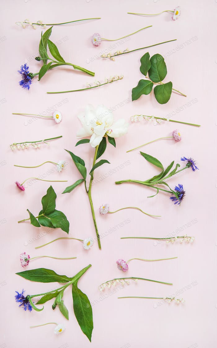Flat-lay of lily of the valley, cornflower, daisy and peony garden flowers, vertical composition