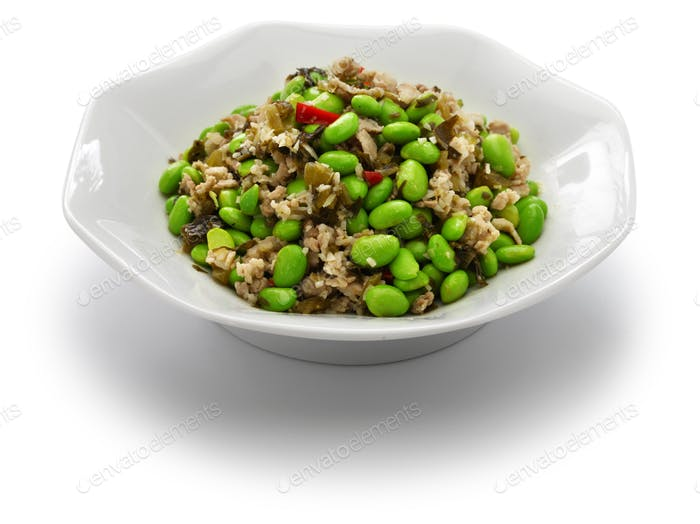 stir fried edamame and snow vegetables, chinese cuisine