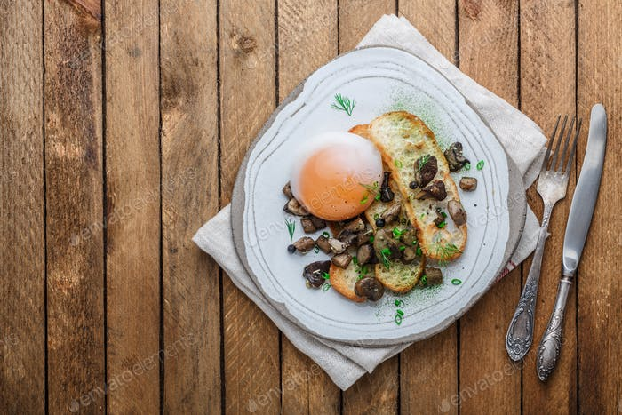 Soft-boiled goose egg with wild mushrooms and bread, copy space