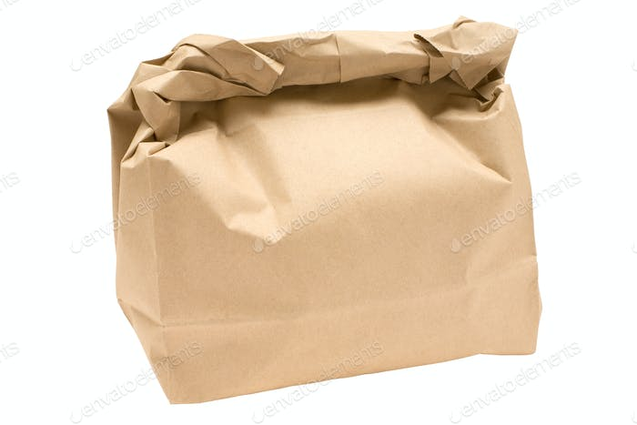 Brown Bag Isolated on a White Background