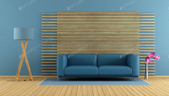 Contemporary living room with blue sofa
