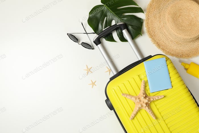 Travel accessories on white background, top view. Travel blogger
