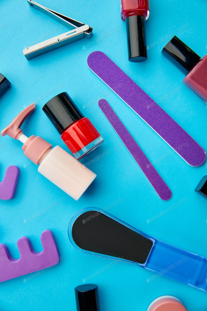 Nail care products, color polish in bottles