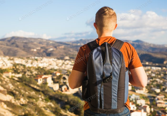 Hiker walks alone. Travel and adventures concept.