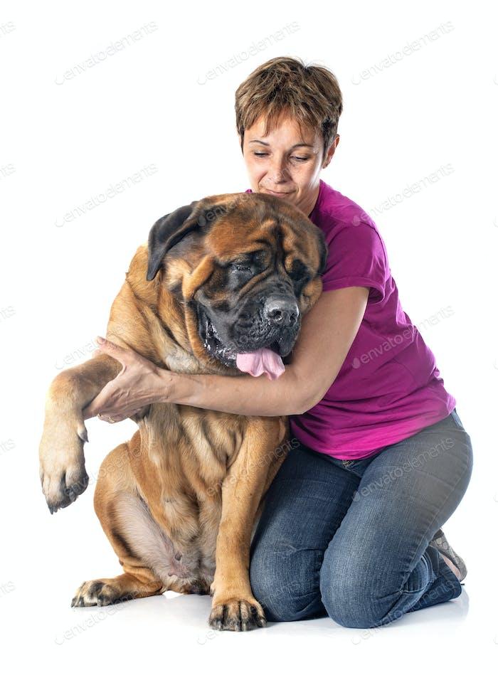 mastiff and woman