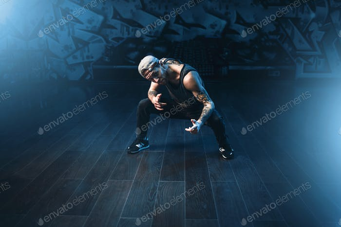 Male rapper in dance studio, trendy lifestyle