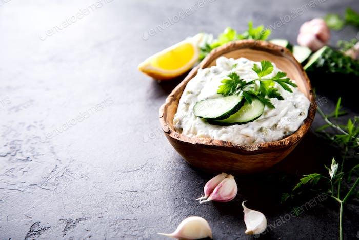 Tzatziki Traditional Greek sauce with ingredients