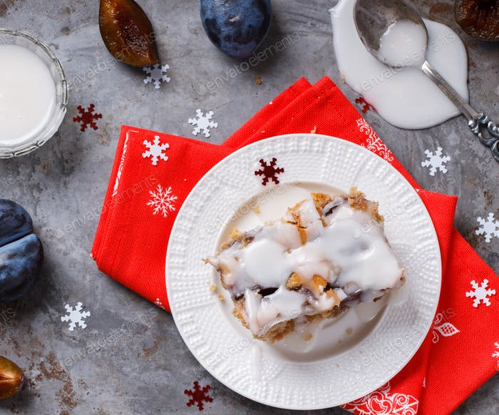Christmas Baking. Pie with plum.