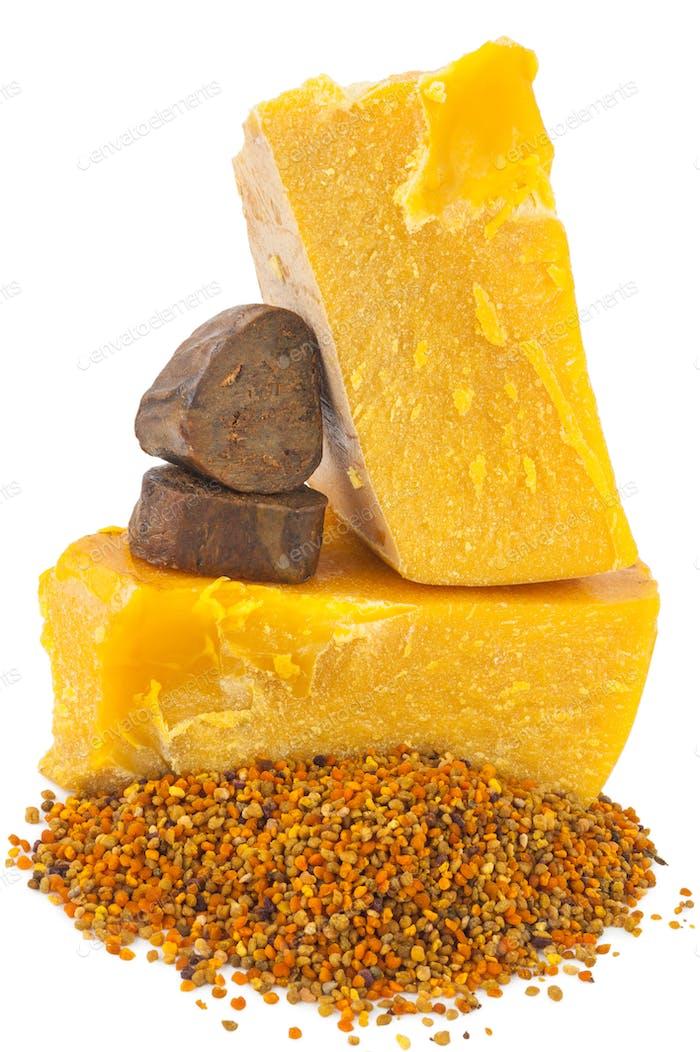Bee pollen and propolis wax