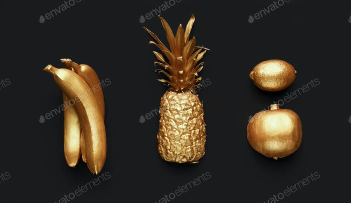 Set of golden fruits