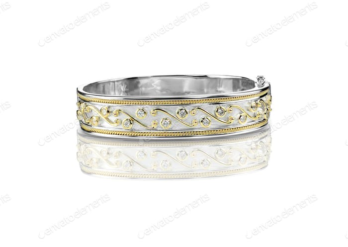 Decorated Duotone diamond gold Bracelet