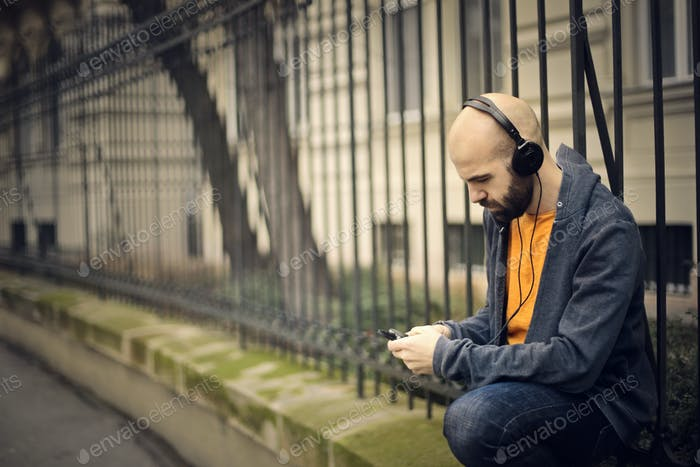 Man listening to music outdoor