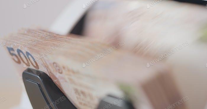 Counting machine of Hong Kong banknote