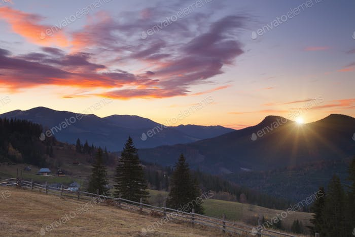 Sunrise in the mountains in autumn