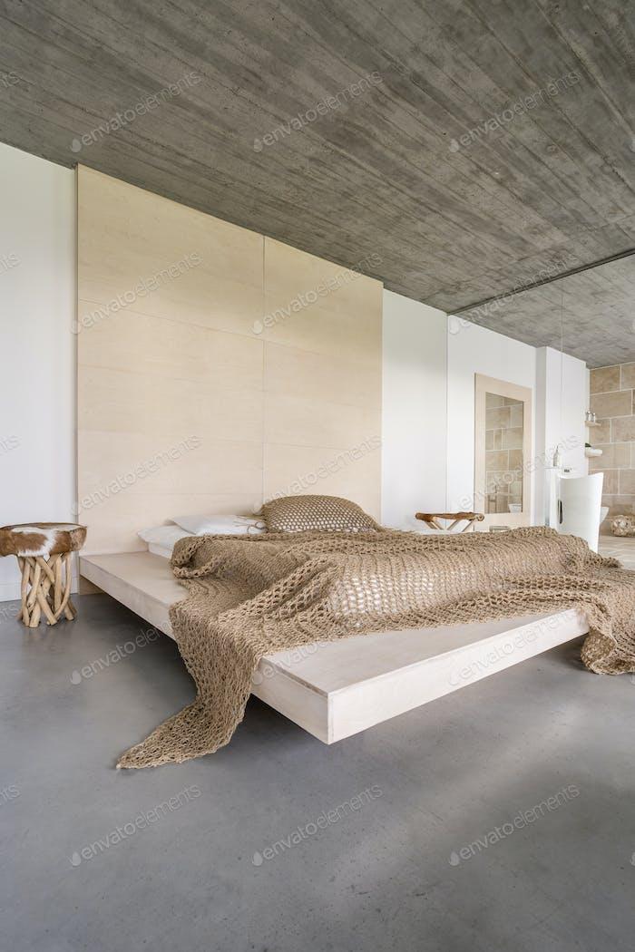 Wooden ceiling in bedroom
