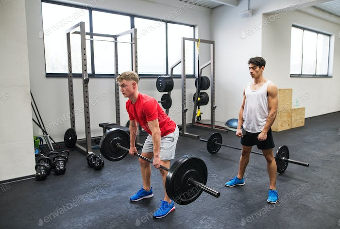Fit young men in gym working out, lifting barbell.