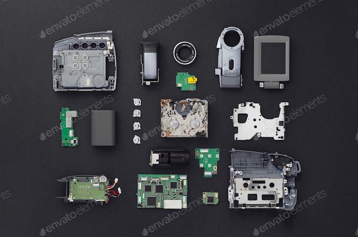 Parts of a mini DV video camera